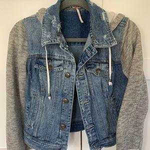 Free People Denim Jacket with Knit Sleeves & Hood